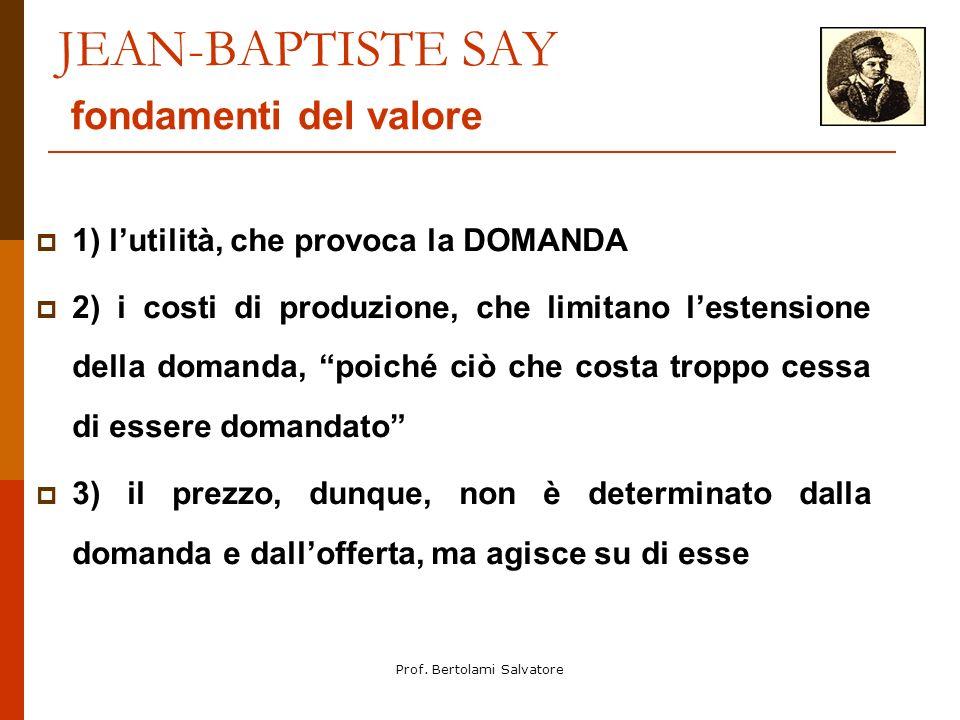 Prof. Bertolami Salvatore JEAN-BAPTISTE SAY fondamenti del valore 1) lutilità, che provoca la DOMANDA 2) i costi di produzione, che limitano lestensio