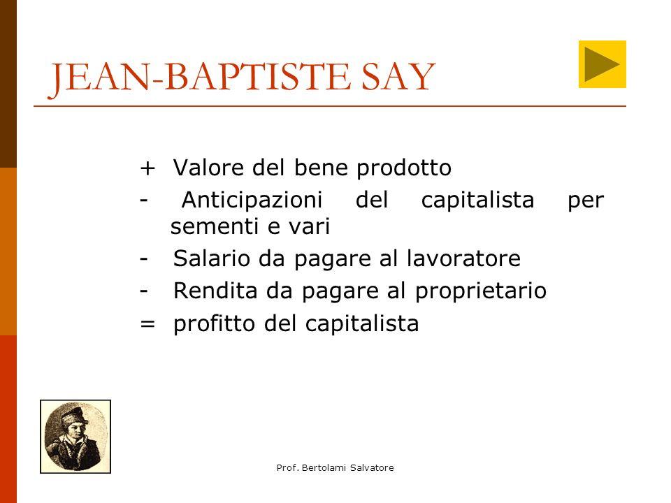 Prof. Bertolami Salvatore JEAN-BAPTISTE SAY + Valore del bene prodotto - Anticipazioni del capitalista per sementi e vari - Salario da pagare al lavor