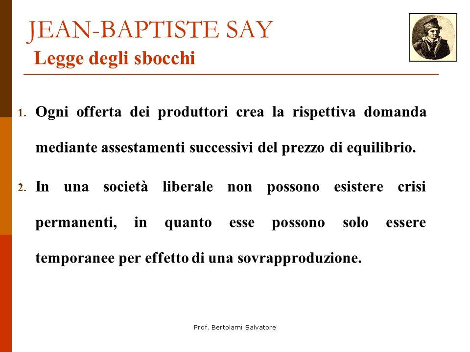 Prof. Bertolami Salvatore JEAN-BAPTISTE SAY Legge degli sbocchi 1. Ogni offerta dei produttori crea la rispettiva domanda mediante assestamenti succes