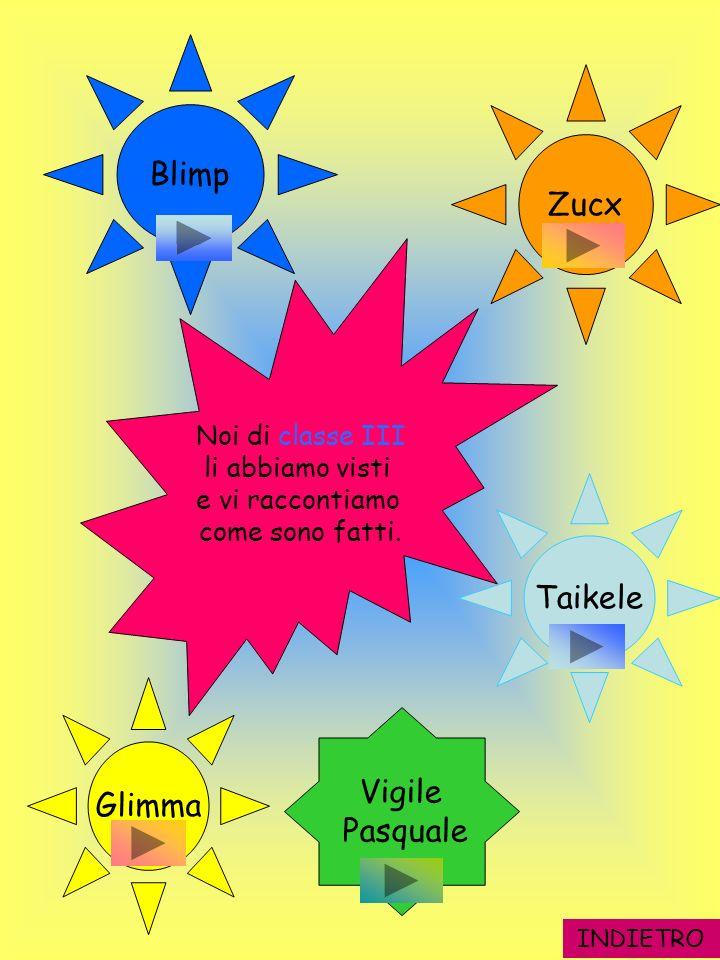 INDIETRO Zucx Taikele Glimma Blimp Vigile Pasquale Noi di classe III li abbiamo visti e vi raccontiamo come sono fatti.