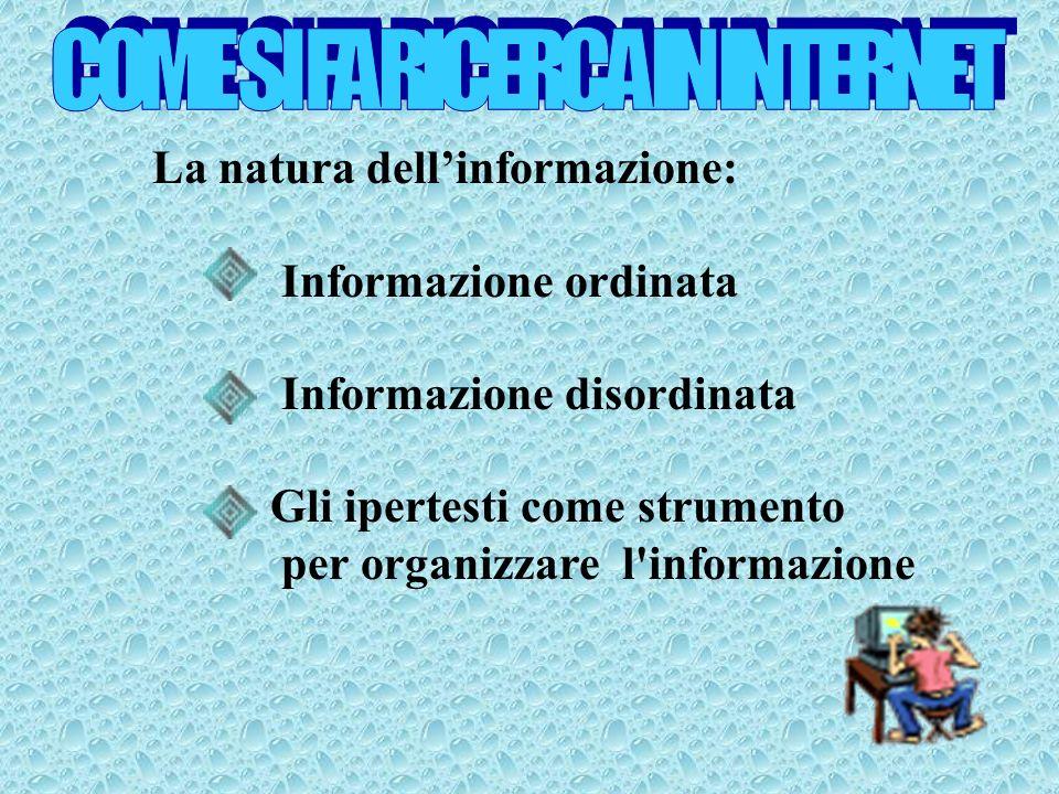 La natura dellinformazione: Informazione ordinata Informazione disordinata Gli ipertesti come strumento per organizzare l informazione