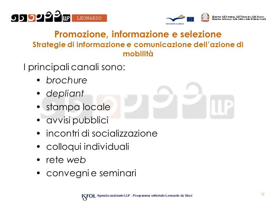 Promozione, informazione e selezione Strategie di informazione e comunicazione dellazione di mobilità I principali canali sono: brochure depliant stam