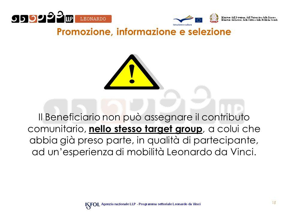 Promozione, informazione e selezione Il Beneficiario non può assegnare il contributo comunitario, nello stesso target group, a colui che abbia già pre