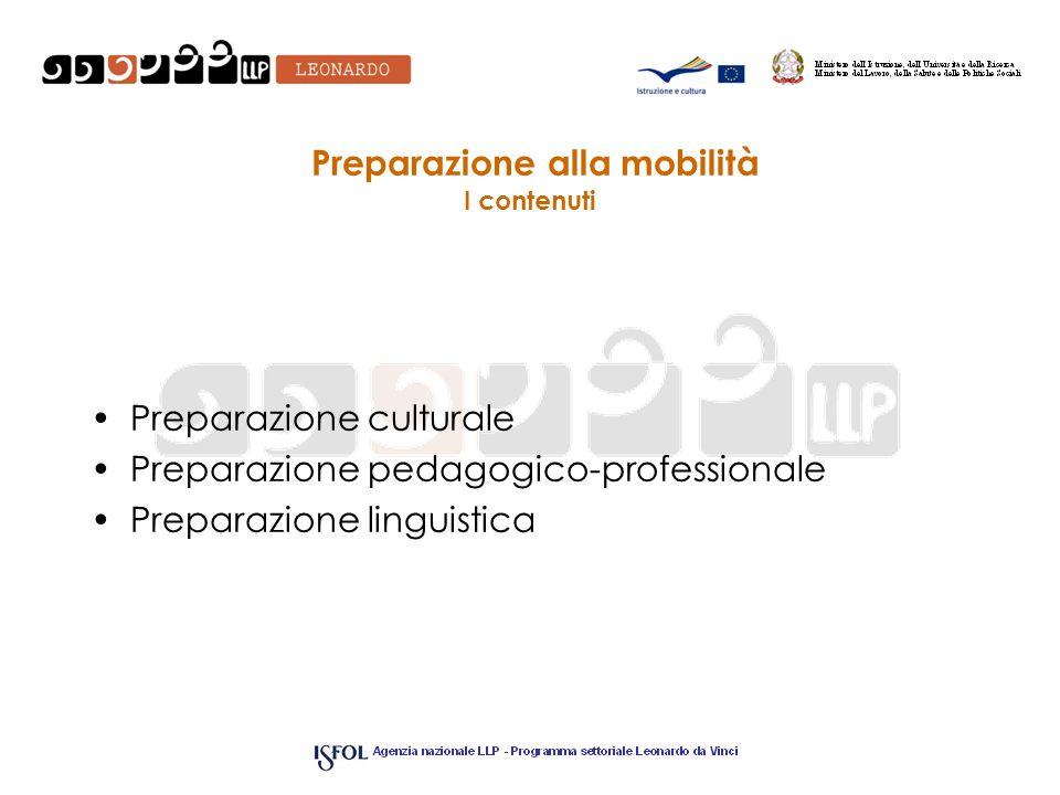 Preparazione alla mobilità I contenuti Preparazione culturale Preparazione pedagogico-professionale Preparazione linguistica