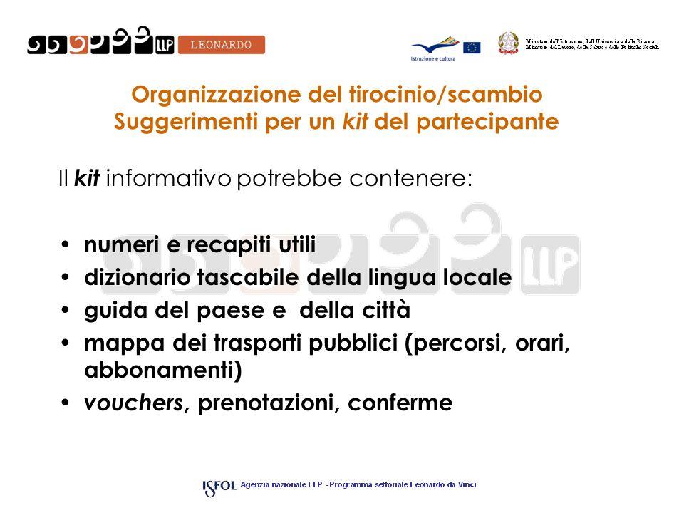 Organizzazione del tirocinio/scambio Suggerimenti per un kit del partecipante Il kit informativo potrebbe contenere: numeri e recapiti utili dizionari
