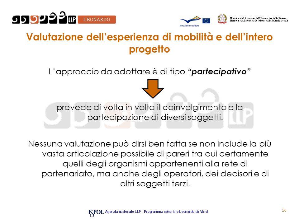 Valutazione dellesperienza di mobilità e dellintero progetto Lapproccio da adottare è di tipo partecipativo prevede di volta in volta il coinvolgiment
