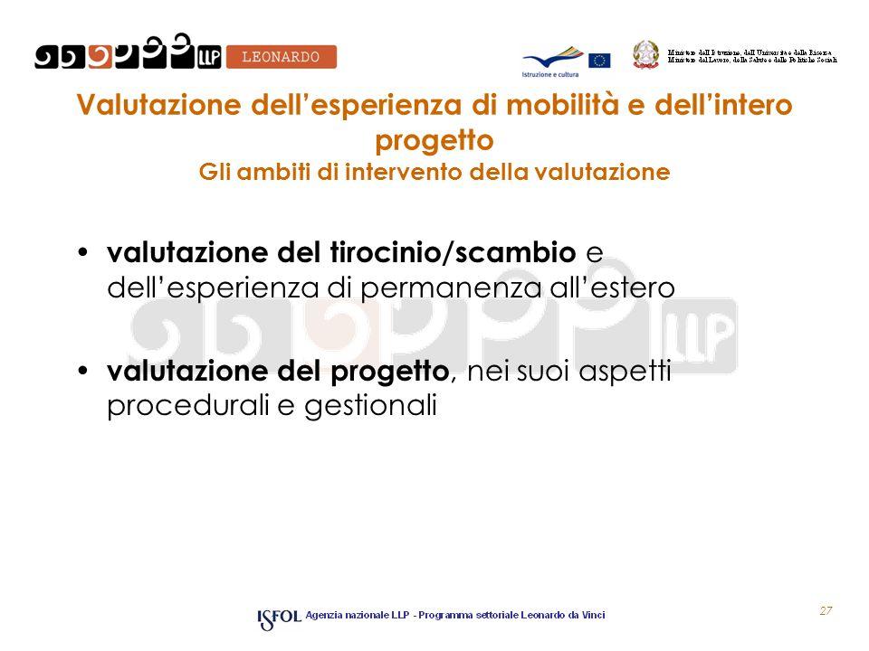 Valutazione dellesperienza di mobilità e dellintero progetto Gli ambiti di intervento della valutazione valutazione del tirocinio/scambio e dellesperi