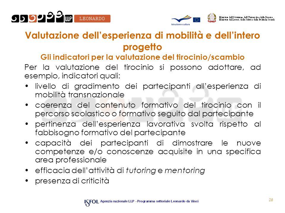 Valutazione dellesperienza di mobilità e dellintero progetto Gli indicatori per la valutazione del tirocinio/scambio Per la valutazione del tirocinio