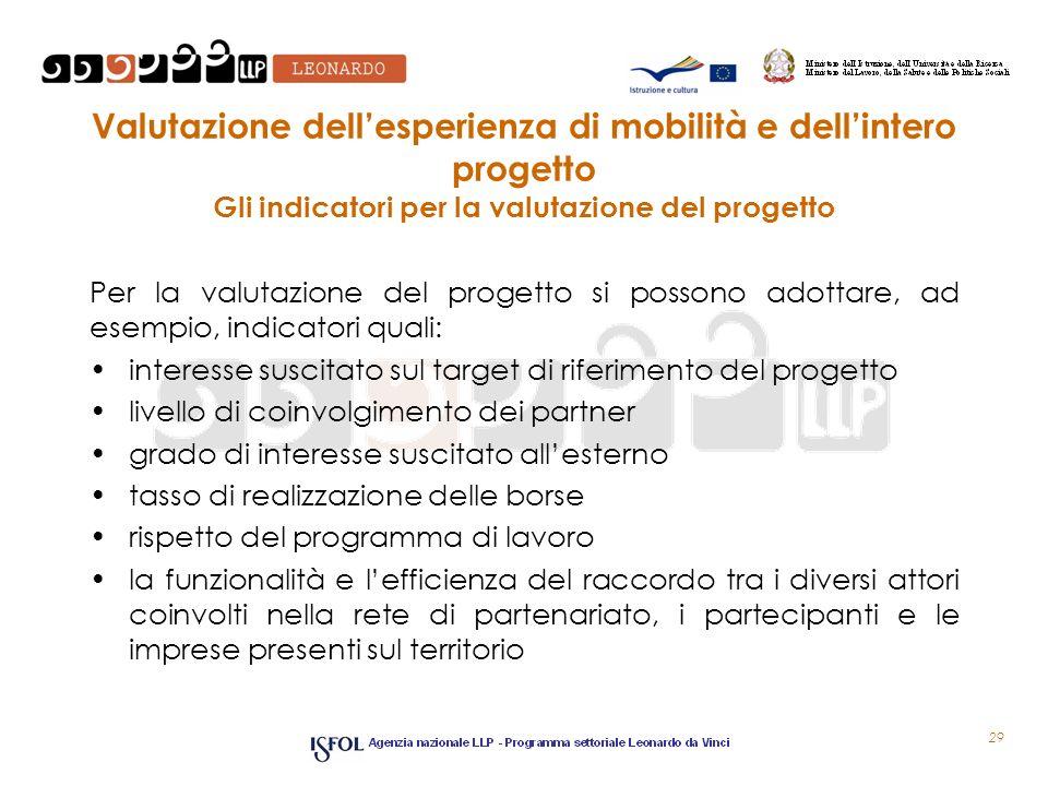 Valutazione dellesperienza di mobilità e dellintero progetto Gli indicatori per la valutazione del progetto Per la valutazione del progetto si possono