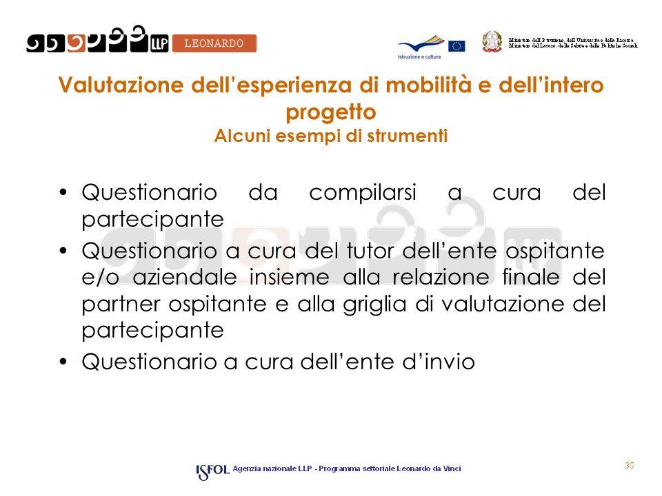 Valutazione dellesperienza di mobilità e dellintero progetto Alcuni esempi di strumenti Questionario da compilarsi a cura del partecipante Questionari