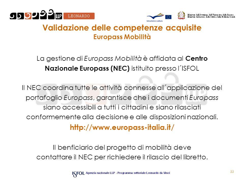 Validazione delle competenze acquisite Europass Mobilità La gestione di Europass Mobilità è affidata al Centro Nazionale Europass (NEC) istituito pres