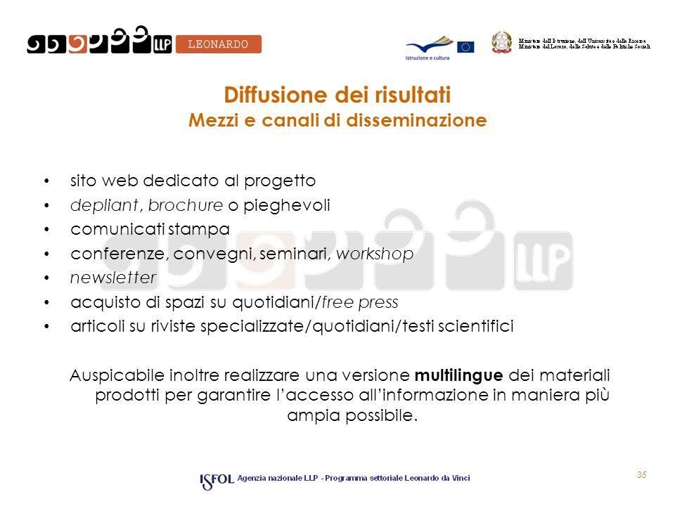 35 Diffusione dei risultati Mezzi e canali di disseminazione sito web dedicato al progetto depliant, brochure o pieghevoli comunicati stampa conferenz
