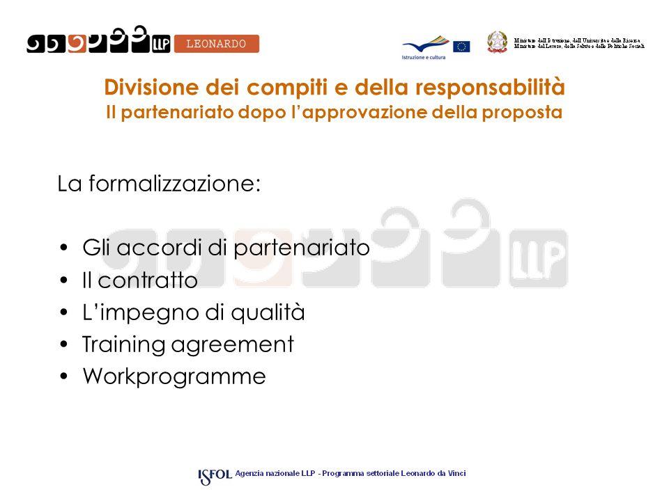 Divisione dei compiti e della responsabilità Il partenariato dopo lapprovazione della proposta La formalizzazione: Gli accordi di partenariato Il cont