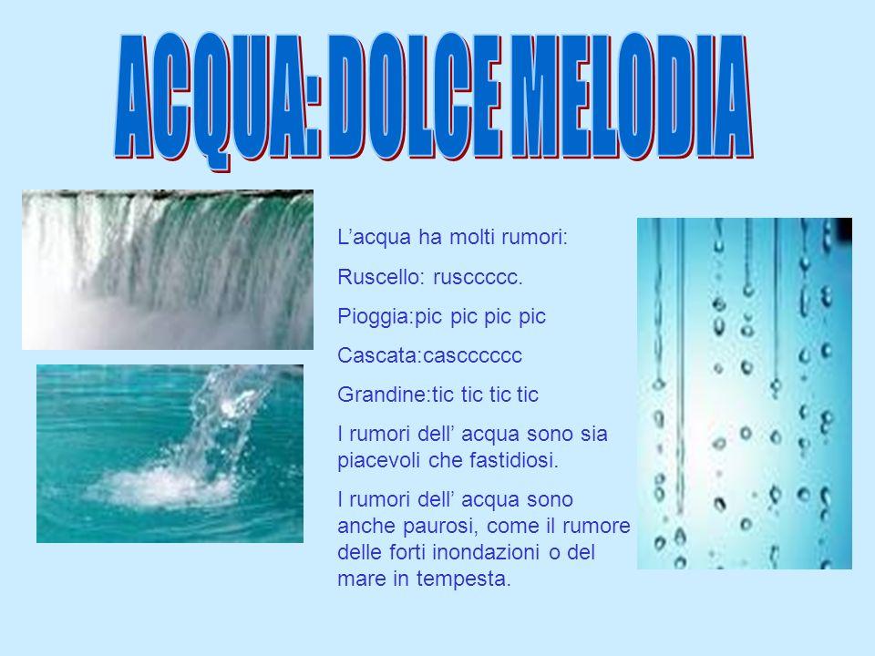 Lacqua ha molti rumori: Ruscello: rusccccc. Pioggia:pic pic pic pic Cascata:cascccccc Grandine:tic tic tic tic I rumori dell acqua sono sia piacevoli