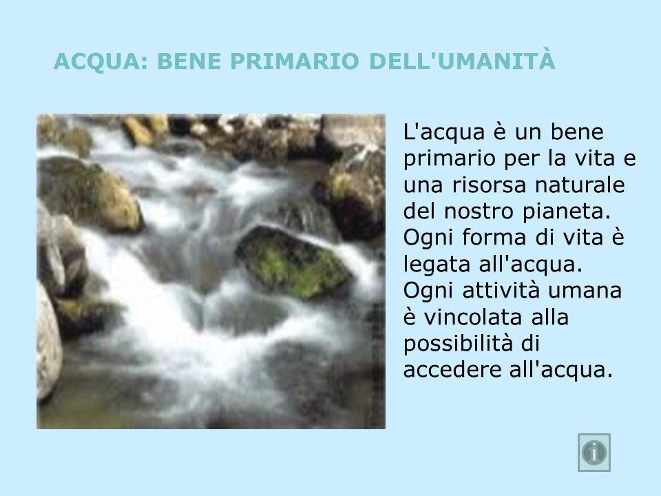 L'acqua è un bene primario per la vita e una risorsa naturale del nostro pianeta. Ogni forma di vita è legata all'acqua. Ogni attività umana è vincola