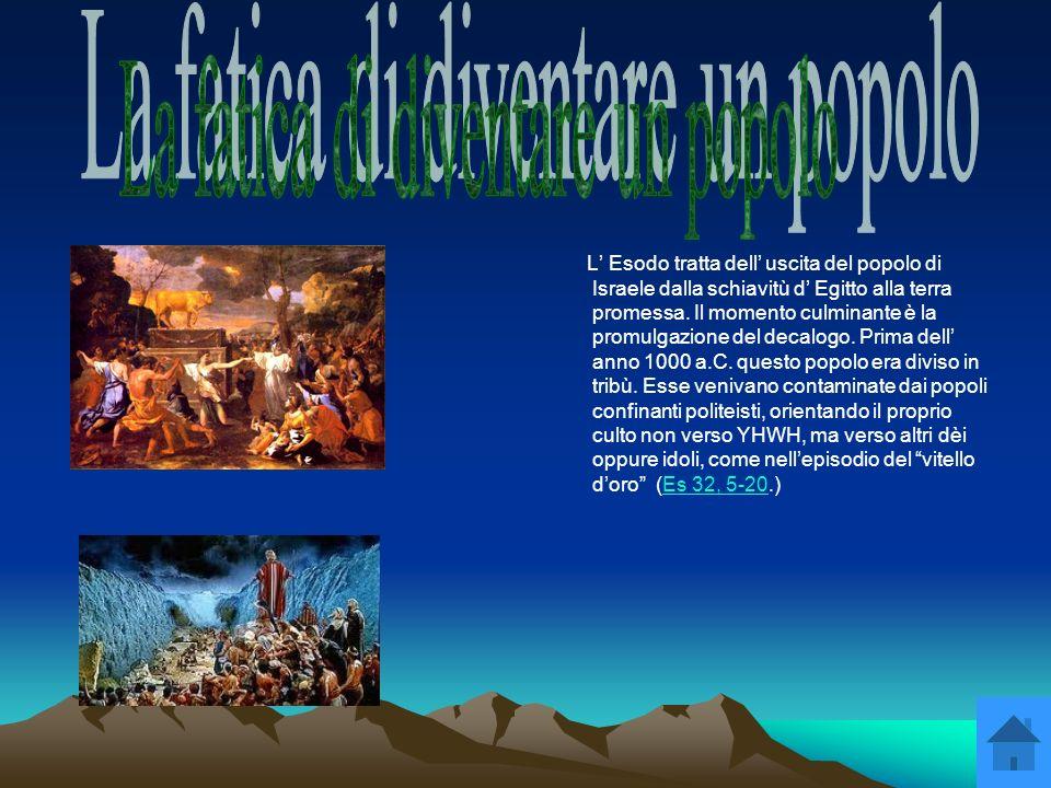 Mosè ricevette sul Sinai da Dio un elaborazione del patto dell Alleanza sviluppatosi in cinque fasi storiche: 1) Annuncio e preparazione dell Alleanza (Es 19,1-14)Es 19,1-14 2) Manifestazione misteriosa di Dio (Es 19,16-25)Es 19,16-25 3) Il decalogo (Es 20,1-17)Es 20,1-17 4) Codice dell Alleanza (Es 21-23) 5) Celebrazione dell Alleanza (Es 24,1-18)Es 24,1-18