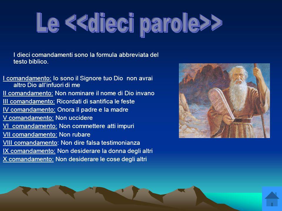 I dieci comandamenti sono la formula abbreviata del testo biblico. I comandamento: Io sono il Signore tuo Dio non avrai altro Dio allinfuori di me II