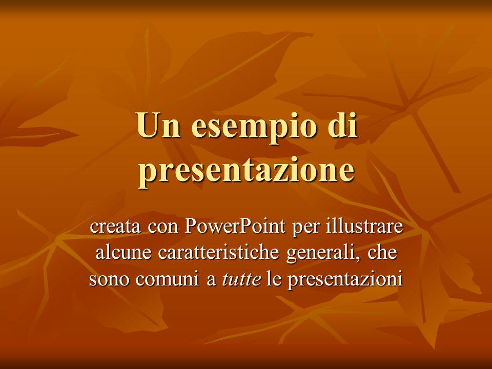 Un esempio di presentazione creata con PowerPoint per illustrare alcune caratteristiche generali, che sono comuni a tutte le presentazioni