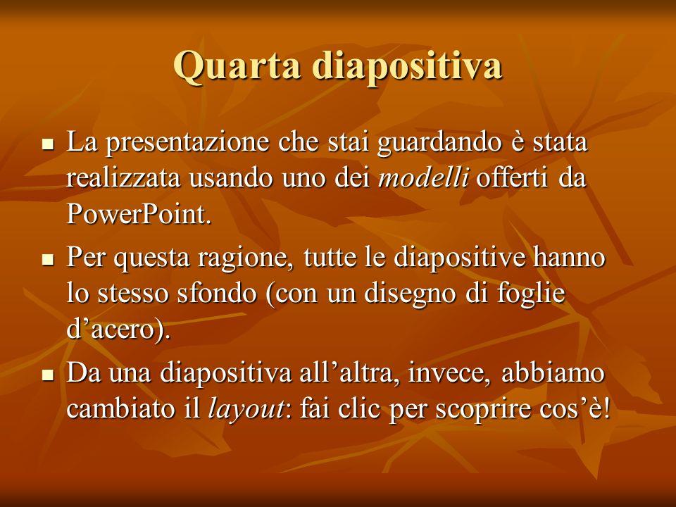 Quarta diapositiva La presentazione che stai guardando è stata realizzata usando uno dei modelli offerti da PowerPoint. La presentazione che stai guar