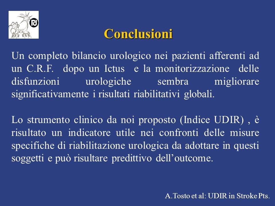 A.Tosto et al: UDIR in Stroke Pts. Conclusioni Un completo bilancio urologico nei pazienti afferenti ad un C.R.F. dopo un Ictus e la monitorizzazione