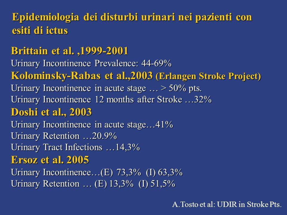 A.Tosto et al: UDIR in Stroke Pts. Epidemiologia dei disturbi urinari nei pazienti con esiti di ictus Brittain et al.,1999-2001 Urinary Incontinence P