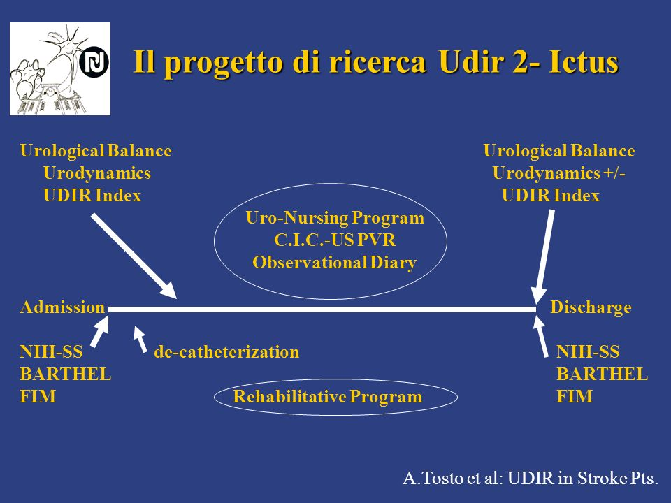 A.Tosto et al: UDIR in Stroke Pts. Il progetto di ricerca Udir 2- Ictus Urological Balance Urodynamics Urodynamics +/- UDIR Index UDIR Index Uro-Nursi