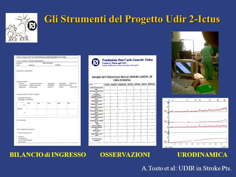 A.Tosto et al: UDIR in Stroke Pts. Gli Strumenti del Progetto Udir 2-Ictus BILANCIO di INGRESSO OSSERVAZIONI URODINAMICA