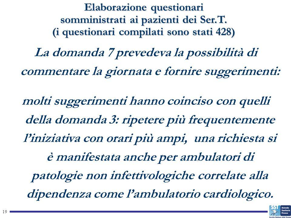 19 Elaborazione questionari somministrati ai pazienti dei Ser.T.