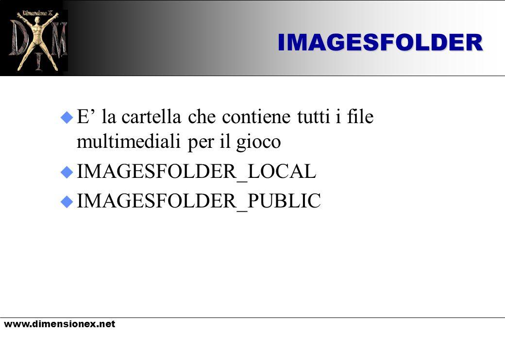 www.dimensionex.netIMAGESFOLDER u E la cartella che contiene tutti i file multimediali per il gioco u IMAGESFOLDER_LOCAL u IMAGESFOLDER_PUBLIC
