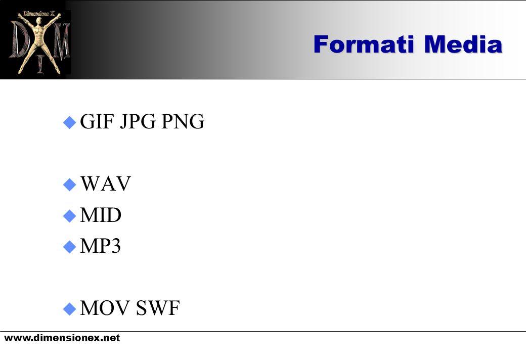 www.dimensionex.net Formati Media u GIF JPG PNG u WAV u MID u MP3 u MOV SWF