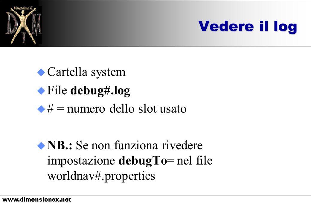 www.dimensionex.net Vedere il log u Cartella system u File debug#.log u # = numero dello slot usato u NB.: Se non funziona rivedere impostazione debugTo= nel file worldnav#.properties