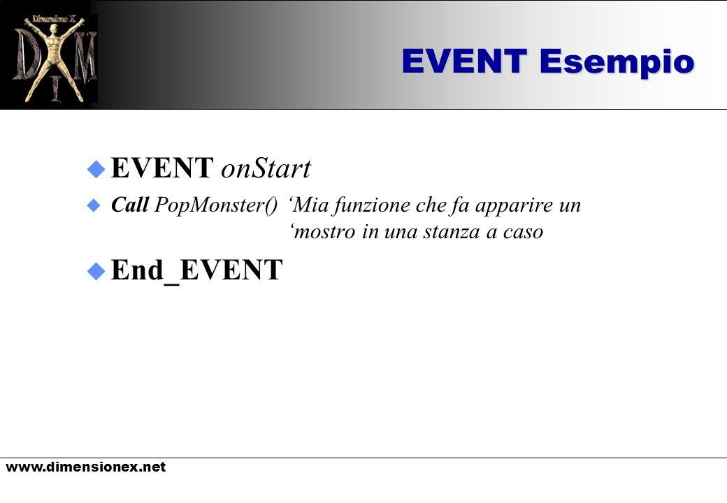 www.dimensionex.net EVENT Esempio u EVENT onStart u Call PopMonster() Mia funzione che fa apparire un mostro in una stanza a caso u End_EVENT