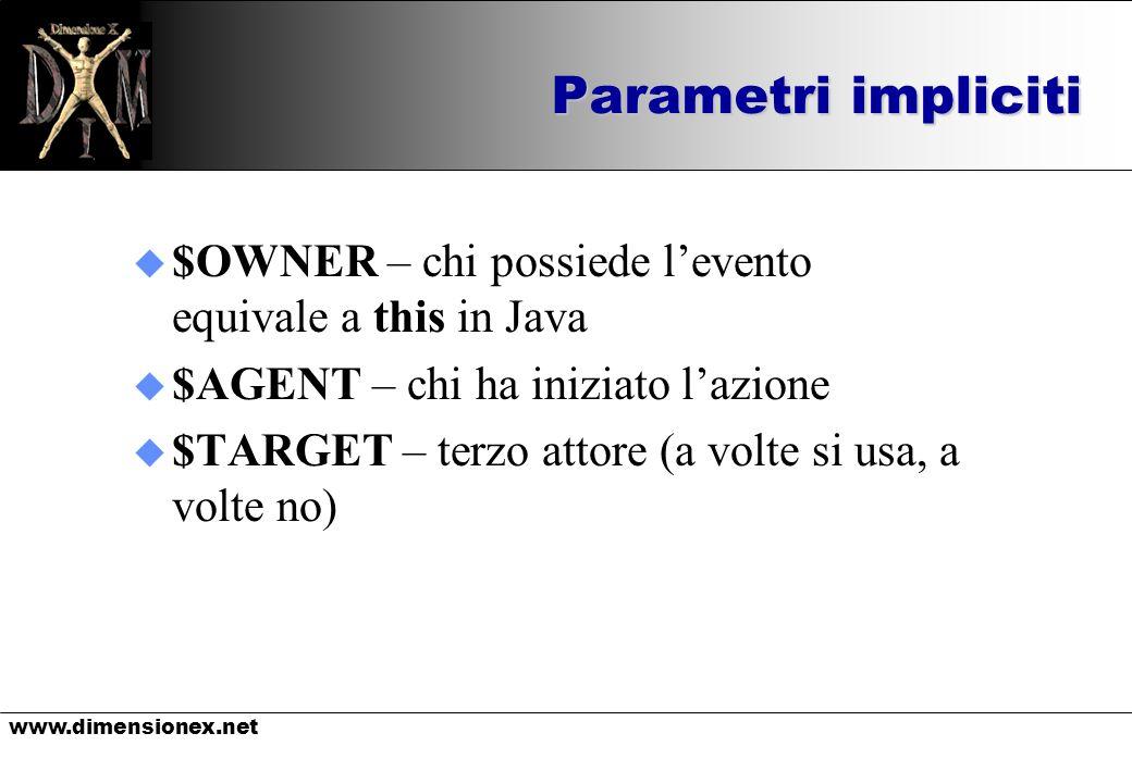 www.dimensionex.net Parametri impliciti u $OWNER – chi possiede levento equivale a this in Java u $AGENT – chi ha iniziato lazione u $TARGET – terzo attore (a volte si usa, a volte no)