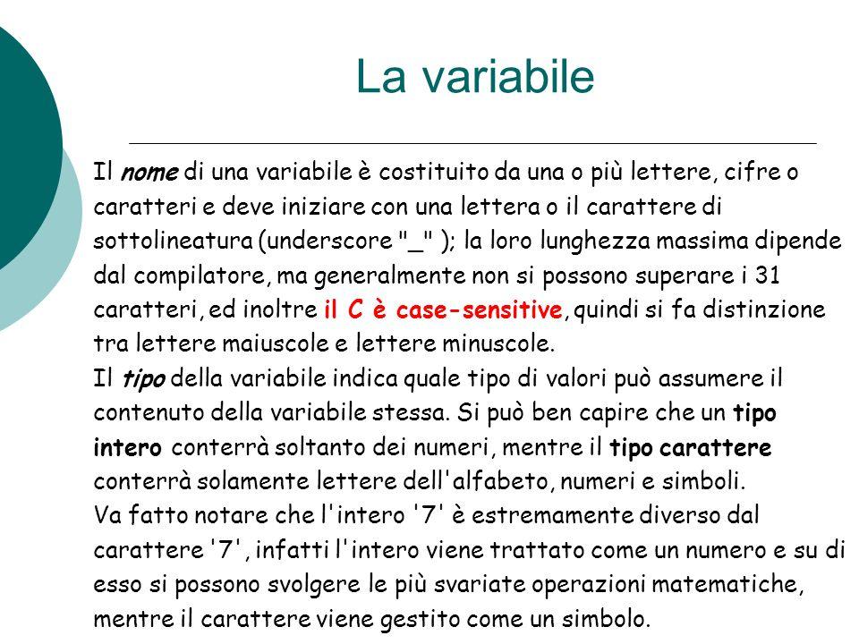 La variabile Il nome di una variabile è costituito da una o più lettere, cifre o caratteri e deve iniziare con una lettera o il carattere di sottoline
