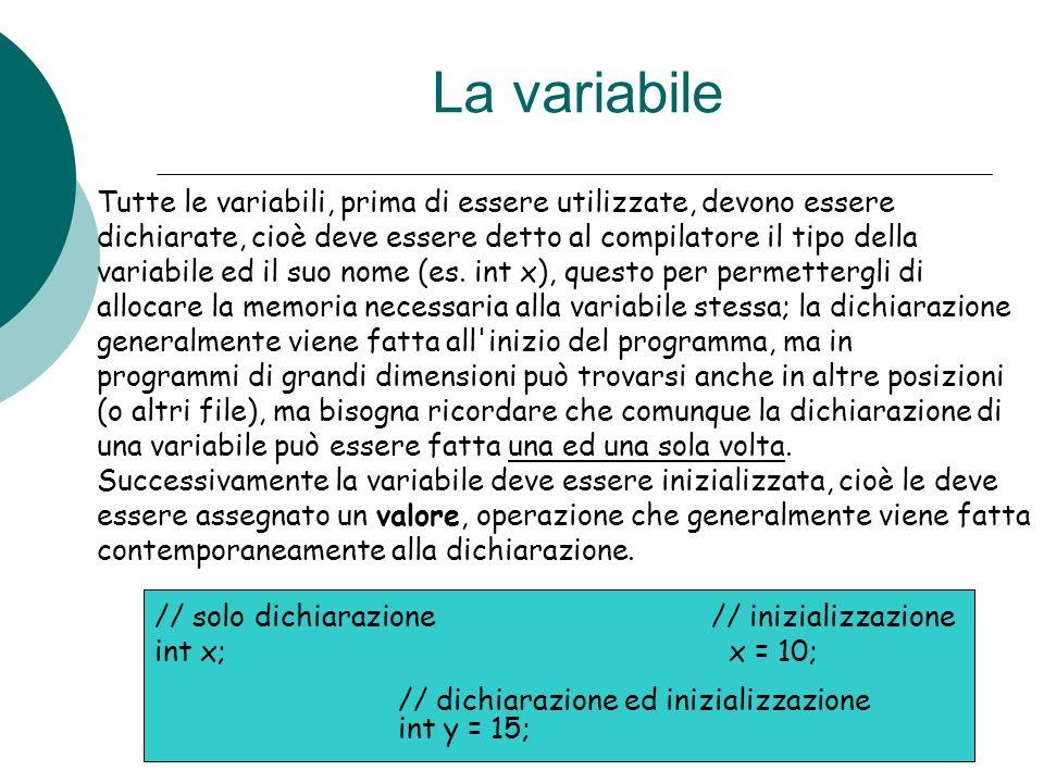 La variabile Tutte le variabili, prima di essere utilizzate, devono essere dichiarate, cioè deve essere detto al compilatore il tipo della variabile e