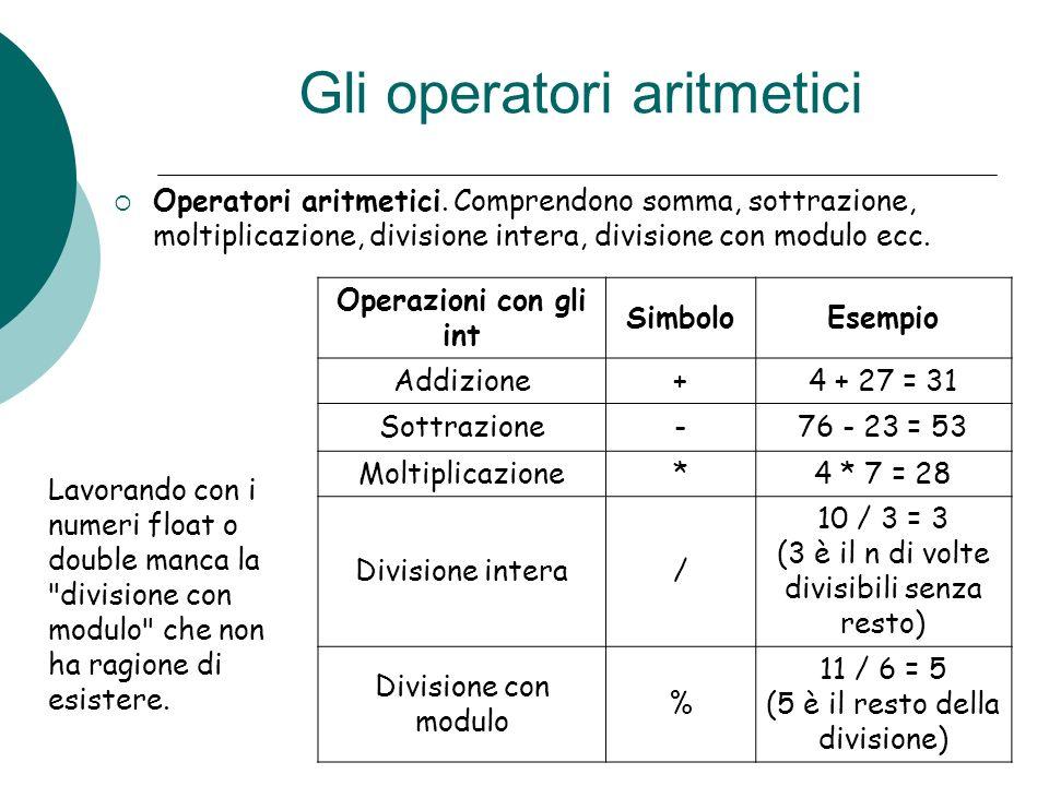 Gli operatori aritmetici Operatori aritmetici. Comprendono somma, sottrazione, moltiplicazione, divisione intera, divisione con modulo ecc. Operazioni