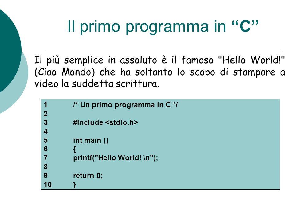 Esempio: Somma fra due numeri /* Programma di addizione */ #include int main( ) { int = A; int = B; int = somma; printf(Inserisci il primo numero\n); scanf(%d, &A); printf(Inserisci il secondo numero\n); scanf(%d, &B); somma = A + B; printf(La somma è %d\n, somma); return 0; }