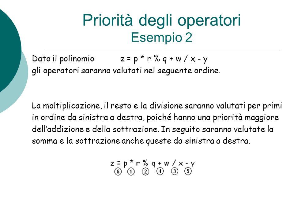 Priorità degli operatori Esempio 2 Dato il polinomio z = p * r % q + w / x - y gli operatori saranno valutati nel seguente ordine. La moltiplicazione,