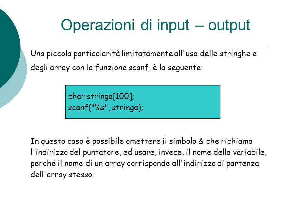 Operazioni di input – output Una piccola particolarità limitatamente all'uso delle stringhe e degli array con la funzione scanf, è la seguente: In que