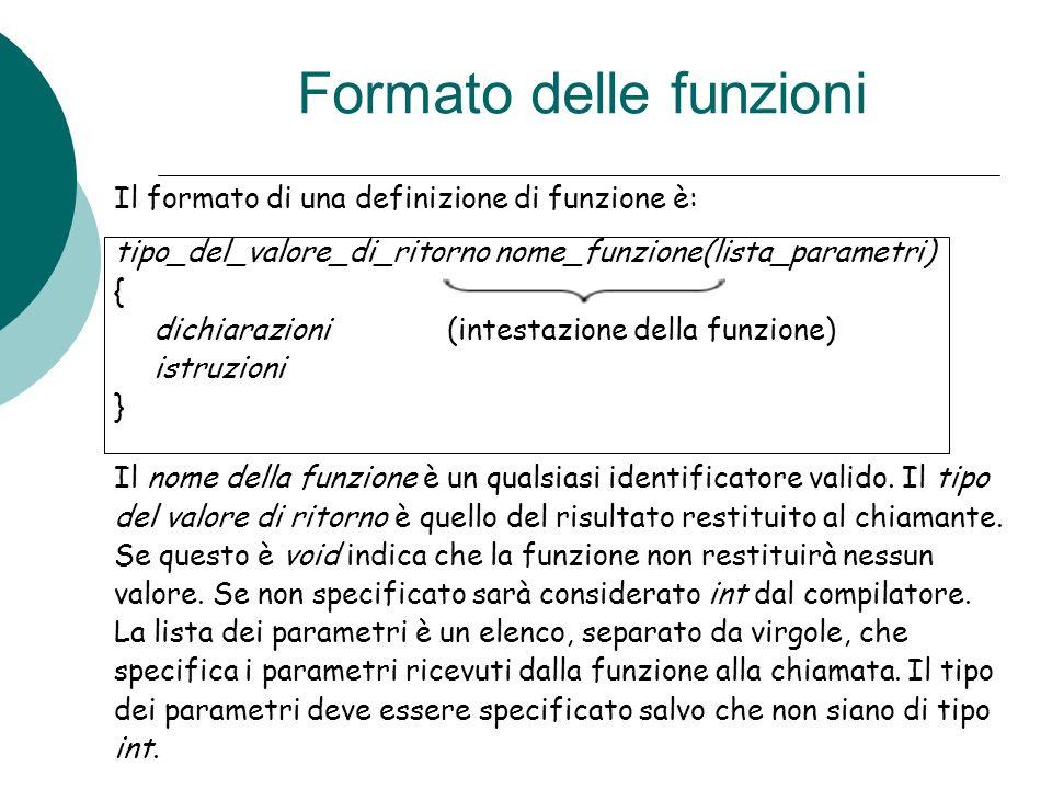 Formato delle funzioni Il formato di una definizione di funzione è: tipo_del_valore_di_ritorno nome_funzione(lista_parametri) { dichiarazioni (intesta