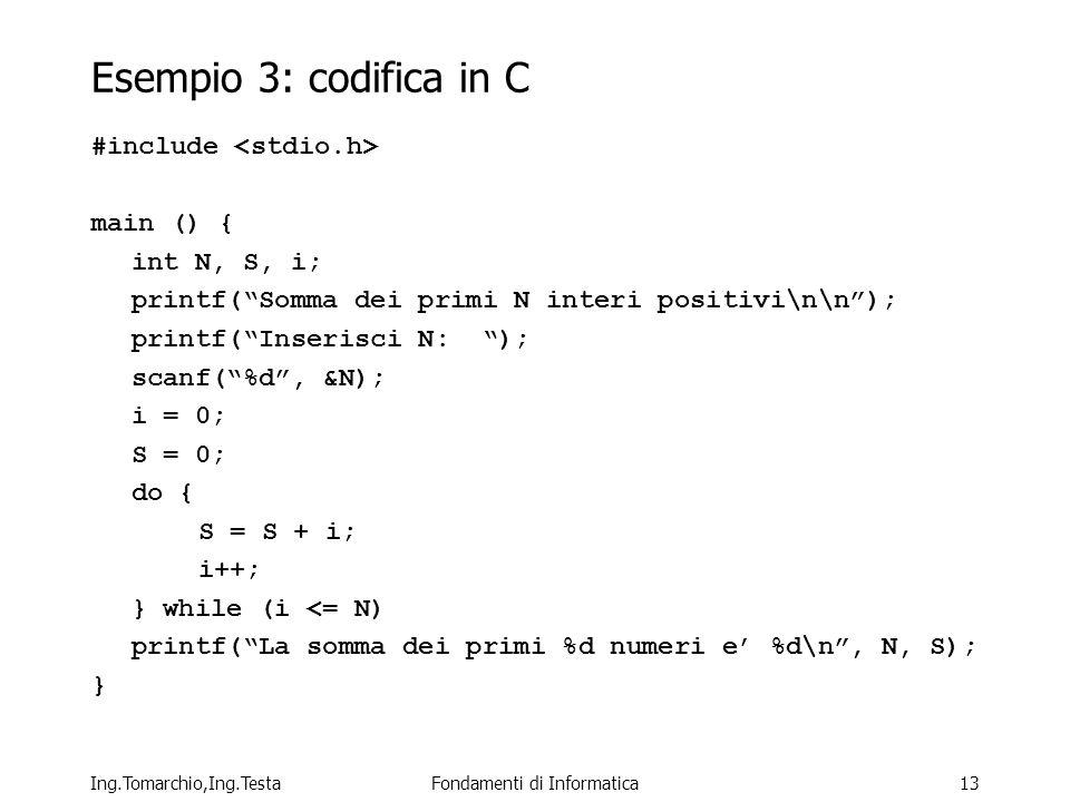 Ing.Tomarchio,Ing.TestaFondamenti di Informatica13 Esempio 3: codifica in C #include main () { int N, S, i; printf(Somma dei primi N interi positivi\n\n); printf(Inserisci N: ); scanf(%d, &N); i = 0; S = 0; do { S = S + i; i++; } while (i <= N) printf(La somma dei primi %d numeri e %d\n, N, S); }