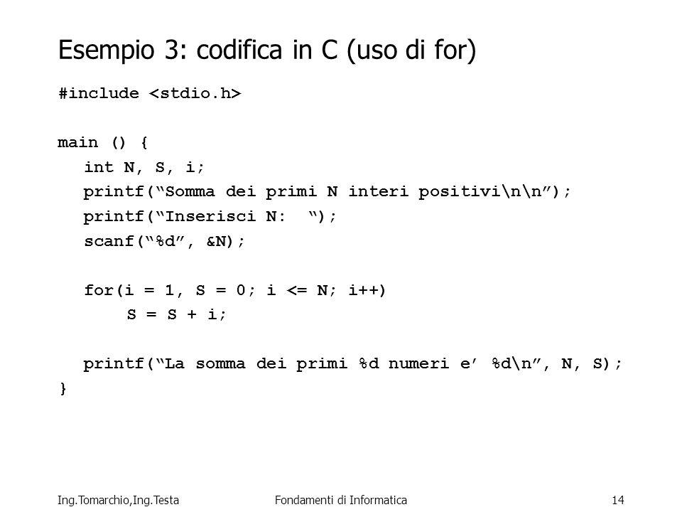 Ing.Tomarchio,Ing.TestaFondamenti di Informatica14 Esempio 3: codifica in C (uso di for) #include main () { int N, S, i; printf(Somma dei primi N interi positivi\n\n); printf(Inserisci N: ); scanf(%d, &N); for(i = 1, S = 0; i <= N; i++) S = S + i; printf(La somma dei primi %d numeri e %d\n, N, S); }