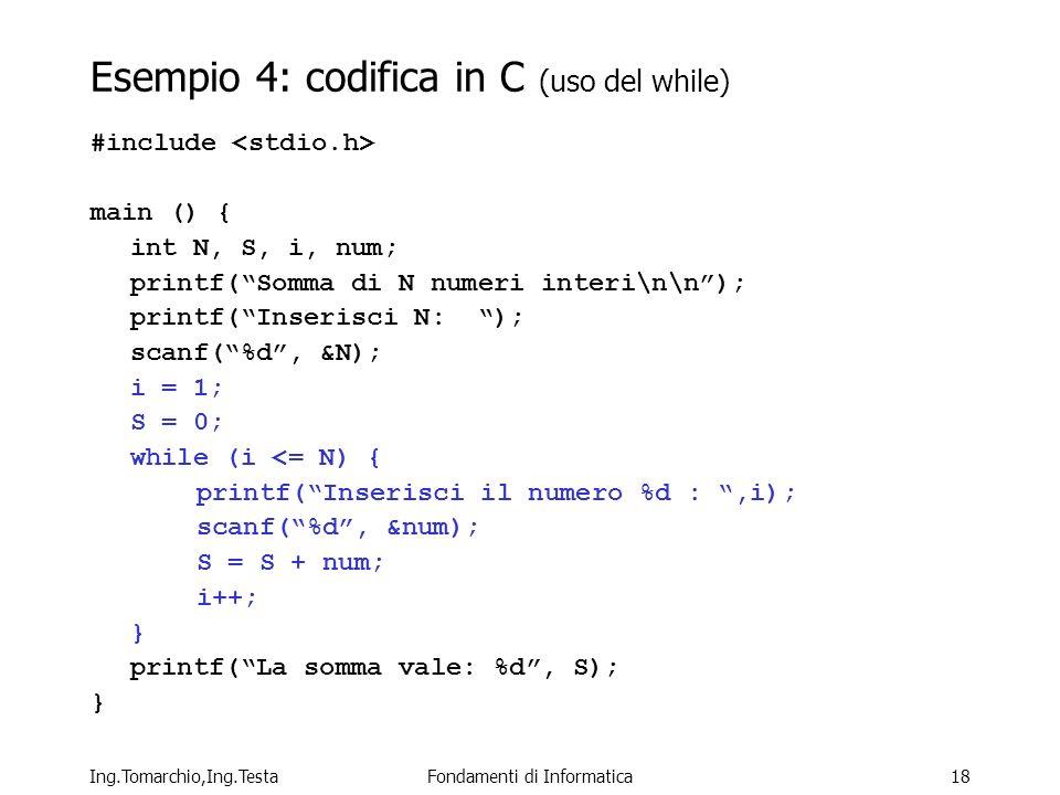 Ing.Tomarchio,Ing.TestaFondamenti di Informatica18 Esempio 4: codifica in C (uso del while) #include main () { int N, S, i, num; printf(Somma di N numeri interi\n\n); printf(Inserisci N: ); scanf(%d, &N); i = 1; S = 0; while (i <= N) { printf(Inserisci il numero %d :,i); scanf(%d, &num); S = S + num; i++; } printf(La somma vale: %d, S); }