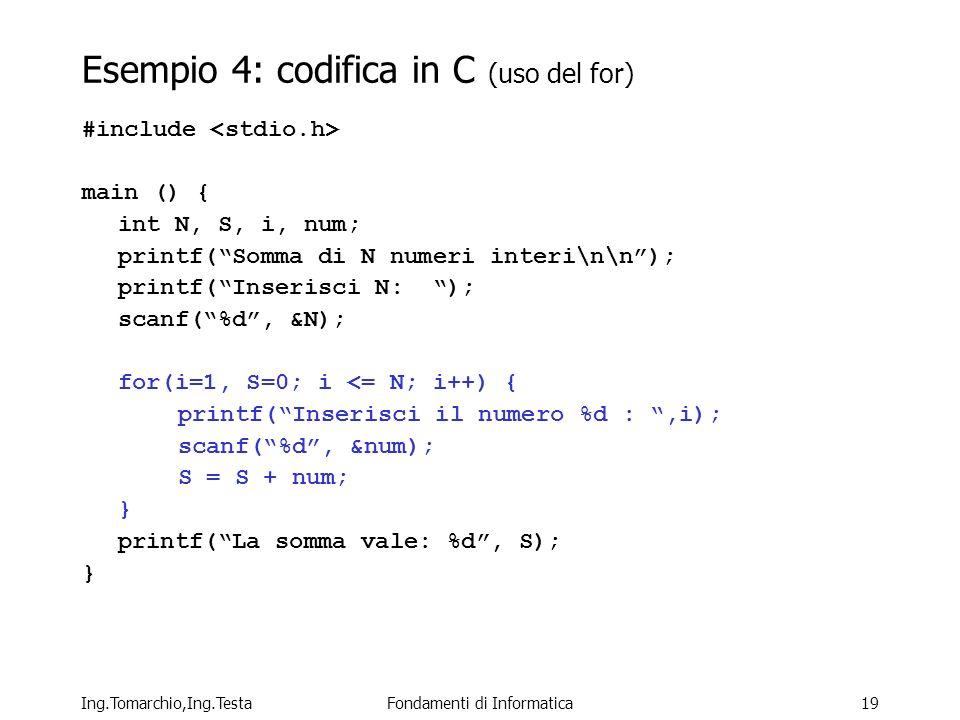 Ing.Tomarchio,Ing.TestaFondamenti di Informatica19 Esempio 4: codifica in C (uso del for) #include main () { int N, S, i, num; printf(Somma di N numeri interi\n\n); printf(Inserisci N: ); scanf(%d, &N); for(i=1, S=0; i <= N; i++) { printf(Inserisci il numero %d :,i); scanf(%d, &num); S = S + num; } printf(La somma vale: %d, S); }