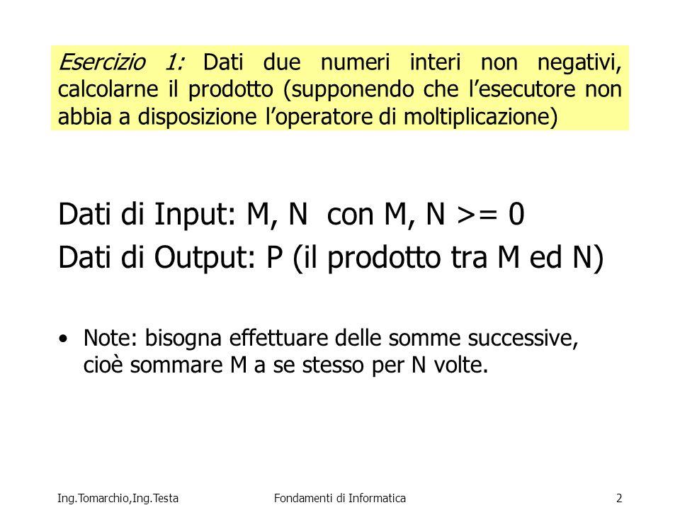 Ing.Tomarchio,Ing.TestaFondamenti di Informatica2 Esercizio 1: Dati due numeri interi non negativi, calcolarne il prodotto (supponendo che lesecutore non abbia a disposizione loperatore di moltiplicazione) Dati di Input: M, N con M, N >= 0 Dati di Output: P (il prodotto tra M ed N) Note: bisogna effettuare delle somme successive, cioè sommare M a se stesso per N volte.