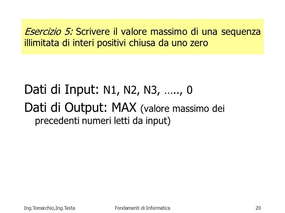 Ing.Tomarchio,Ing.TestaFondamenti di Informatica20 Esercizio 5: Scrivere il valore massimo di una sequenza illimitata di interi positivi chiusa da uno zero Dati di Input: N1, N2, N3, ….., 0 Dati di Output: MAX (valore massimo dei precedenti numeri letti da input)