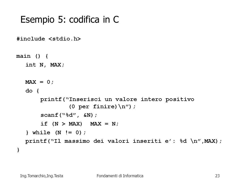 Ing.Tomarchio,Ing.TestaFondamenti di Informatica23 Esempio 5: codifica in C #include main () { int N, MAX; MAX = 0; do { printf(Inserisci un valore intero positivo (0 per finire)\n); scanf(%d, &N); if (N > MAX) MAX = N; } while (N != 0); printf(Il massimo dei valori inseriti e: %d \n,MAX); }