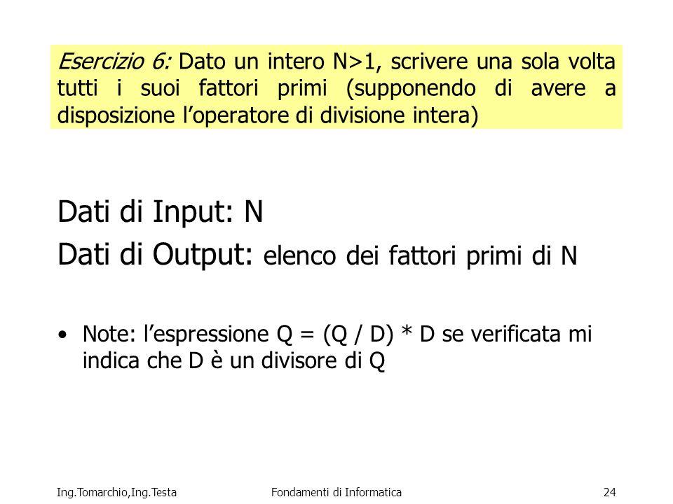 Ing.Tomarchio,Ing.TestaFondamenti di Informatica24 Esercizio 6: Dato un intero N>1, scrivere una sola volta tutti i suoi fattori primi (supponendo di avere a disposizione loperatore di divisione intera) Dati di Input: N Dati di Output: elenco dei fattori primi di N Note: lespressione Q = (Q / D) * D se verificata mi indica che D è un divisore di Q
