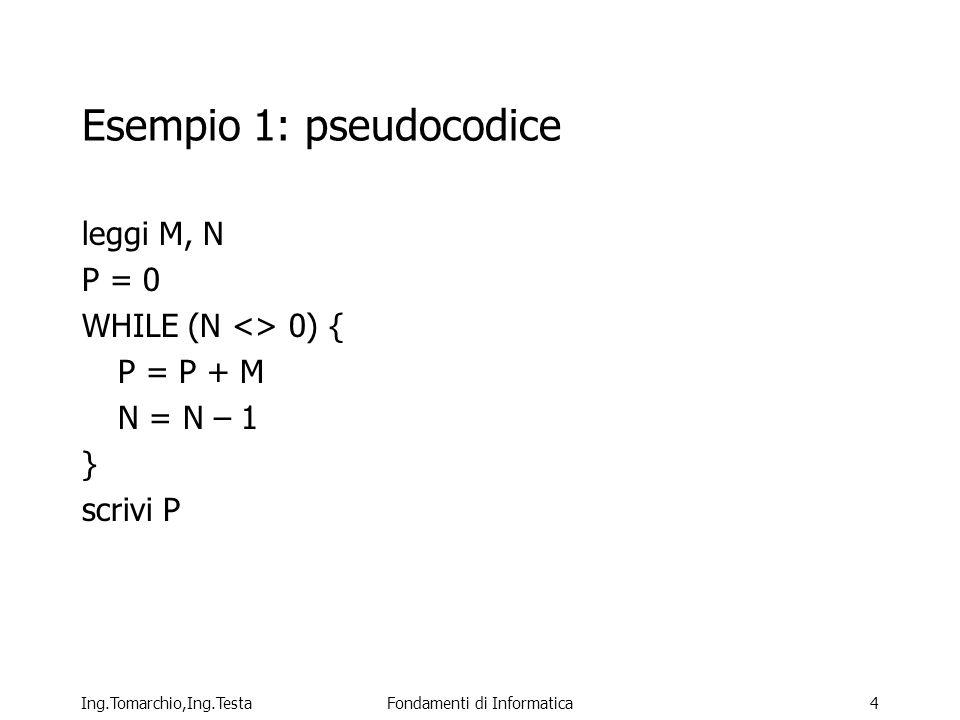 Ing.Tomarchio,Ing.TestaFondamenti di Informatica4 Esempio 1: pseudocodice leggi M, N P = 0 WHILE (N <> 0) { P = P + M N = N – 1 } scrivi P