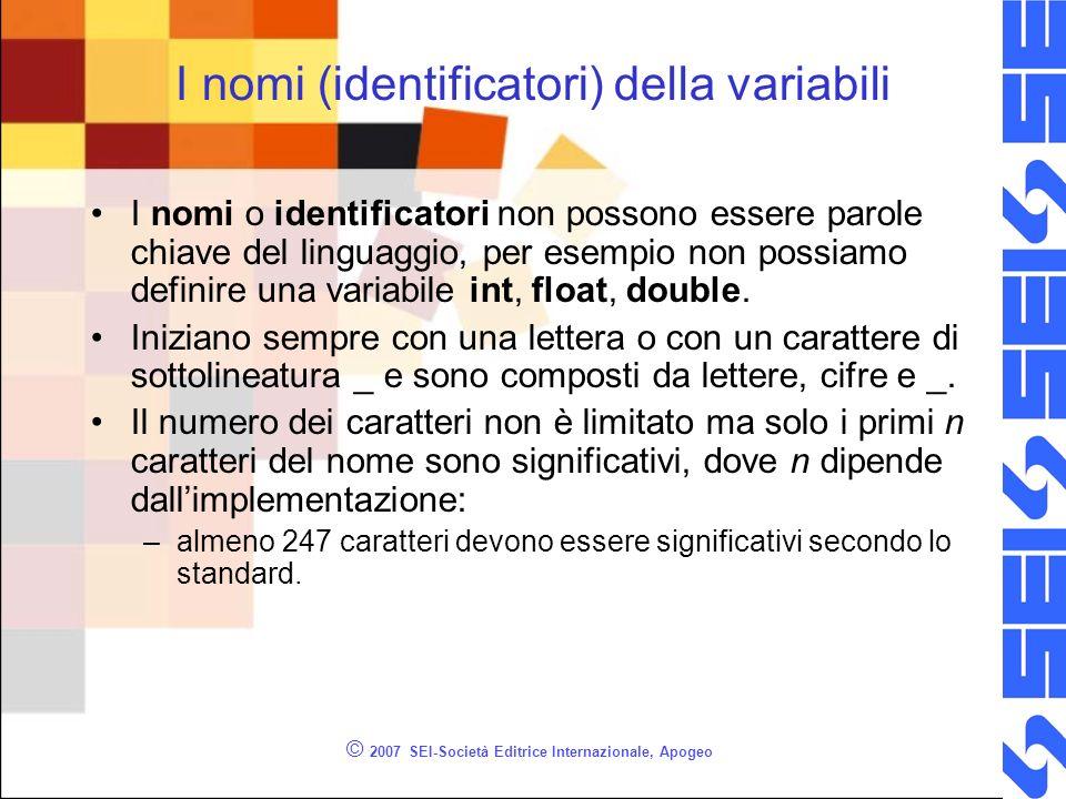 © 2007 SEI-Società Editrice Internazionale, Apogeo I nomi (identificatori) della variabili I nomi o identificatori non possono essere parole chiave del linguaggio, per esempio non possiamo definire una variabile int, float, double.